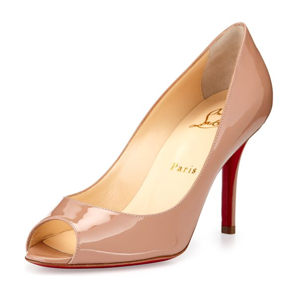 "Christian Louboutin Youyou Patent 85mm Red Sole Pump in nude - Christian Louboutin patent leather pump. 3.3"" covered..."