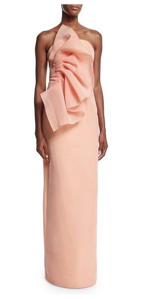 "Christian Siriano Wild flower strapless column gown in apricot - Christian Siriano ""Wild Flower"" woven gown. Straight-cut..."
