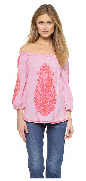 Christophe Sauvat Collection Caicai off shoulder beach blouse in pink - Neon embroidery brings modern flourish to this off...