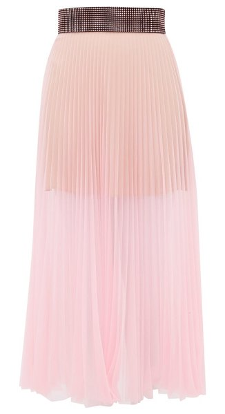 Christopher Kane crystal-embellished pleated tulle midi skirt in light pink