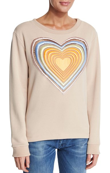 Christopher Kane Embroidered rainbow heart sweatshirt in nude - Christopher Kane cotton-blend sweatshirt. Round...