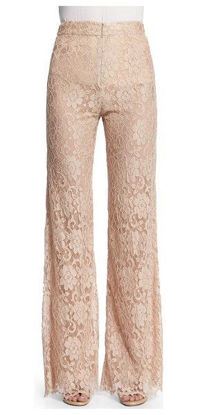 Christopher Kane High-waist flare-leg lace pants in nude - Christopher Kane lace pants. Rise sits at the natural...