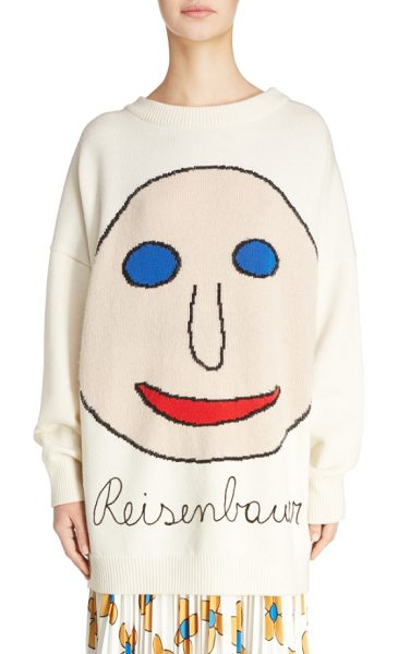 Christopher Kane reisenbauer intarsia face sweater in natural white - Get your grin on in a slouchy oversized sweater knit...