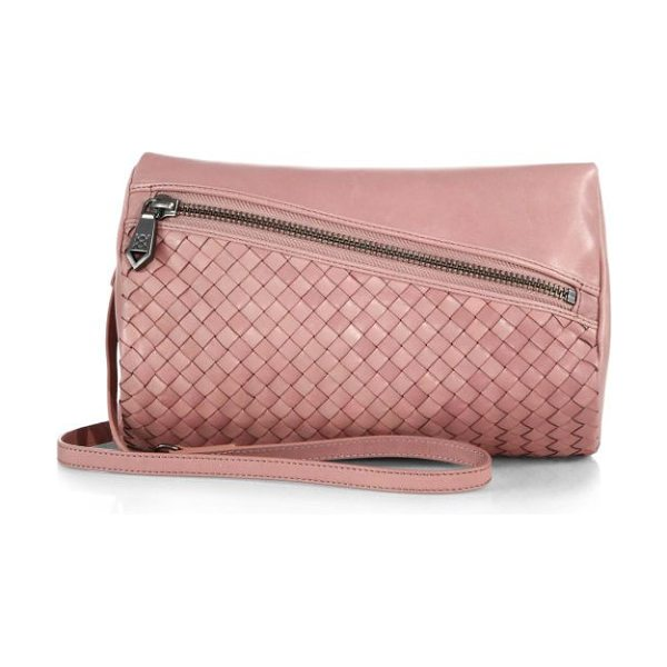 Christopher Kon Weekend woven leather convertible shoulder bag in mauve - A demure pouch combining woven and smooth leather...