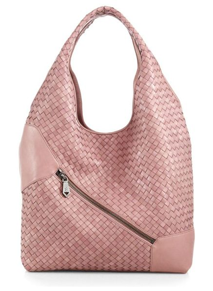 CHRISTOPHER KON Weekend woven leather hobo in mauve - An elongated hobo shape, soft and slouchy, in rich...