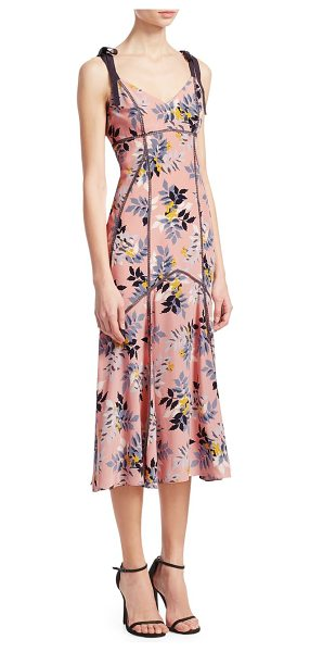 Cinq à Sept ainsley floral-print dress in peach bud multi - Floral printed dress with shoulder tie accents. V-neck...