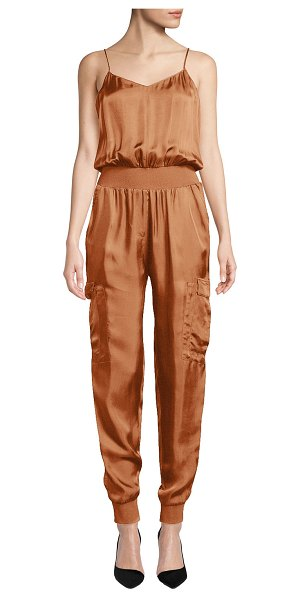 Cinq A Sept Amia Twill V-Neck Jumpsuit in brown
