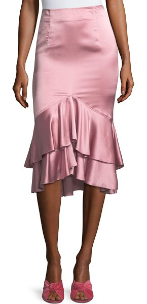 "Cinq A Sept Anissa Fitted Satin Midi Skirt with Ruffled Hem in bright pink - Cinq Sept ""Anissa"" silk satin skirt. Mid-rise; flat..."