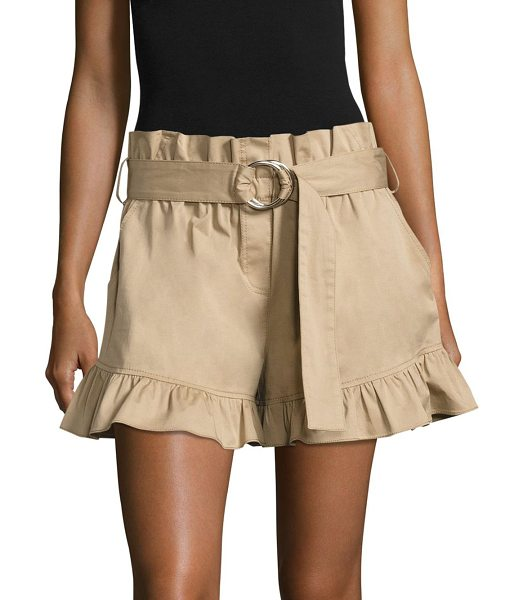 Cinq A Sept braxton belted ruffled shorts in khaki - Belted twill shorts finished with feminine ruffles....