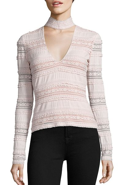 Cinq A Sept cecily choker lace top in cinq pink - Lace top updated with choker-inspired neckline. Choker...