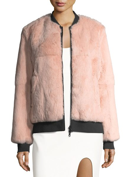 "Cinq A Sept Corban Fur Reversible Bomber Jacket in black/pink - Cinq Sept ""Corban"" reversible bomber jacket in dyed..."