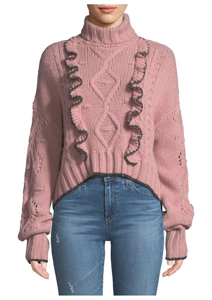 Cinq A Sept Edna Ruffle Turtleneck Cropped Sweater in medium pink