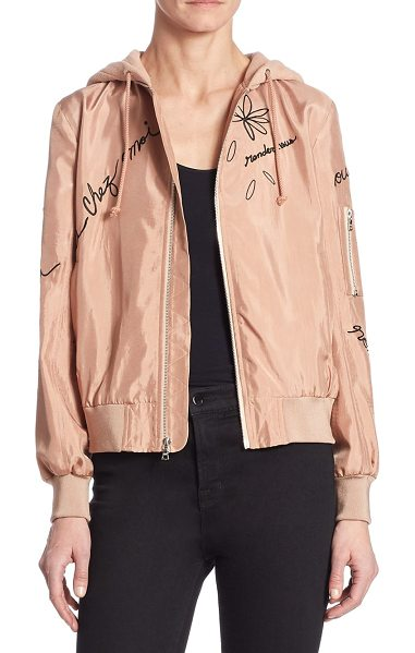 CINQ A SEPT effie hooded bomber jacket - Embroidered bomber jacket with flirty French lettering....