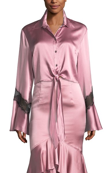 "CINQ A SEPT Genevieve Button-Front Silk Satin Top with Lace - Cinq Sept ""Genevieve"" silk satin top. Spread collar;..."
