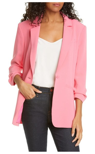 Cinq A Sept khloe ruched sleeve blazer in pink