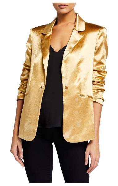 Cinq A Sept Kylie Ruched-Sleeve Satin Blazer in gold