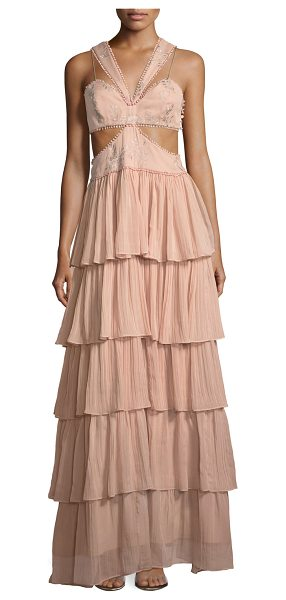 "Cinq A Sept Leda Sleeveless Cutout-Waist Tiered Silk Evening Gown in pink - Cinq Sept ""Leda"" evening gown features a tiered ruffled..."