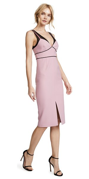 Cinq A Sept lida midi dress in tea rose/black - Fabric: Suiting Mesh panels Sheath dress silhouette Midi...