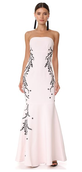Cinq A Sept luna embroidered gown in cinq pink/black - A strapless Cinq a Sept gown with contrast laurel...