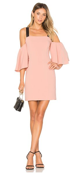 CINQ A SEPT Monroe Dress in peach - Poly blend. Dry clean only. Fully lined. Mesh shoulder...