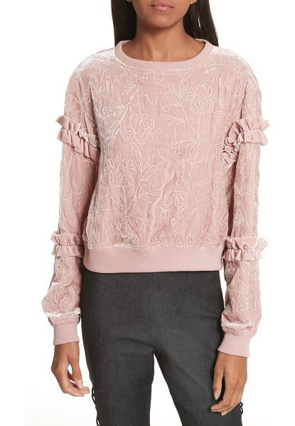 Cinq A Sept nara embroidered velvet sweatshirt in mauve - Plush velvet adds luxe texture to this sporty...