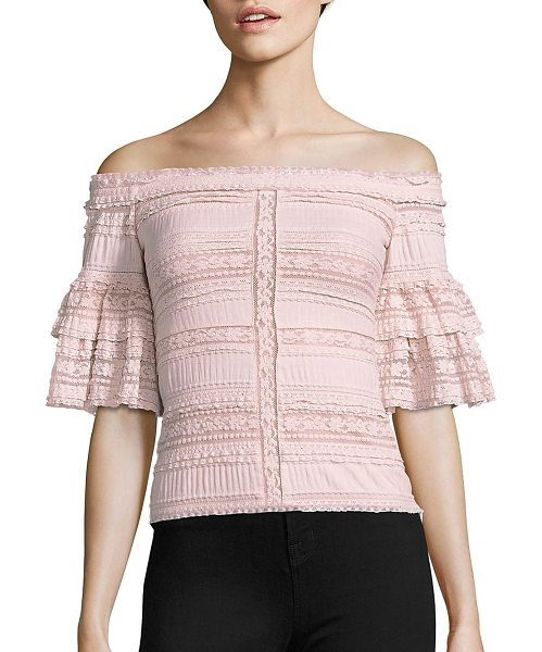 Cinq A Sept naya off-the-shoulder lace top in cinq pink - EXCLUSIVELY AT SAKS FIFTH AVENUE. Gathered...