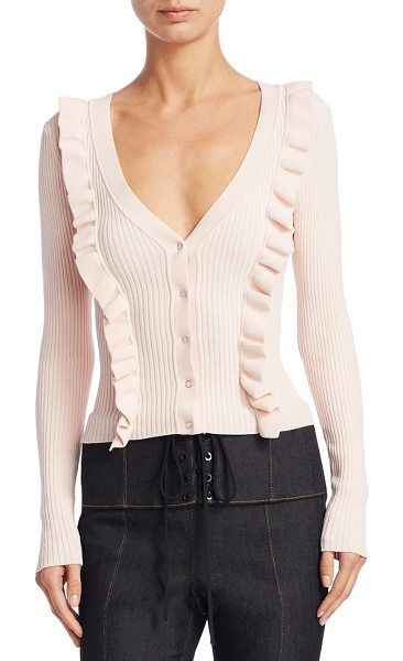Cinq A Sept noya ruffle cardigan in pearl blush - Rib-knit cardigan designed with ruffled trim. Deep...