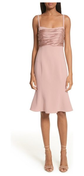 Cinq A Sept paloma fit & flare dress in mauve - Gathered satin adds beautiful texture to the babydoll...