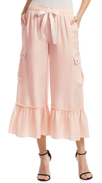 Cinq A Sept tous les jours prisilia cropped cargo pants in pearlblush - Ruffle accented cargo pants in subtle sheen finish....