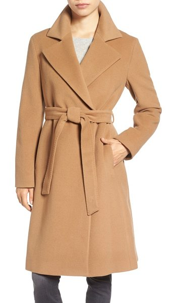 Cinzia Rocca Icons wool blend long wrap coat in camel - Softly structured from a lush wool blend enriched with...