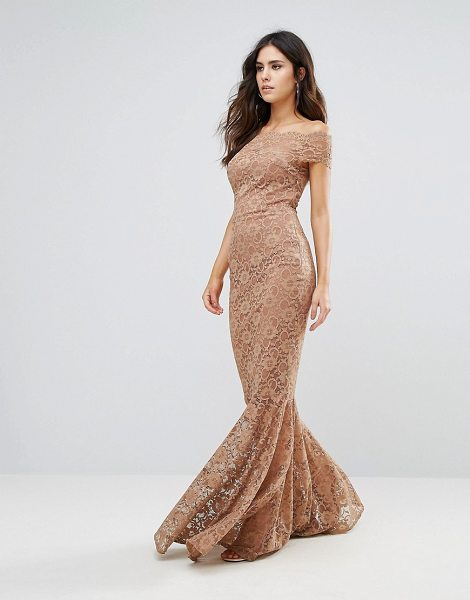 "CITY GODDESS Bardot Lace Fishtail Dress in brown - """"Maxi dress by City Goddess, Lined lace, Added stretch..."