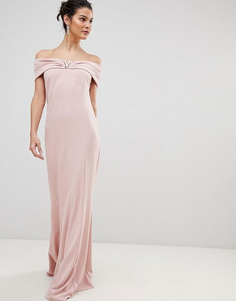 City Goddess bardot maxi dress with metal detail in palepink - Evening dress by City Goddess, Be the best-dressed...