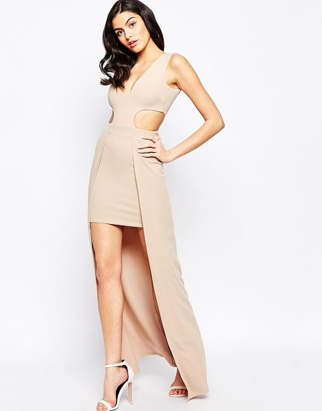 City Goddess High-lo maxi dress with side cut-outs in beige - Evening dress by City Goddess Mid-weight stretch crepe...