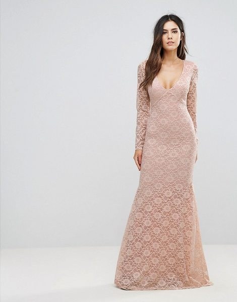 "City Goddess Lace Maxi Dress in beige - """"Maxi dress by City Goddess, Lined stretch lace, Plunge..."