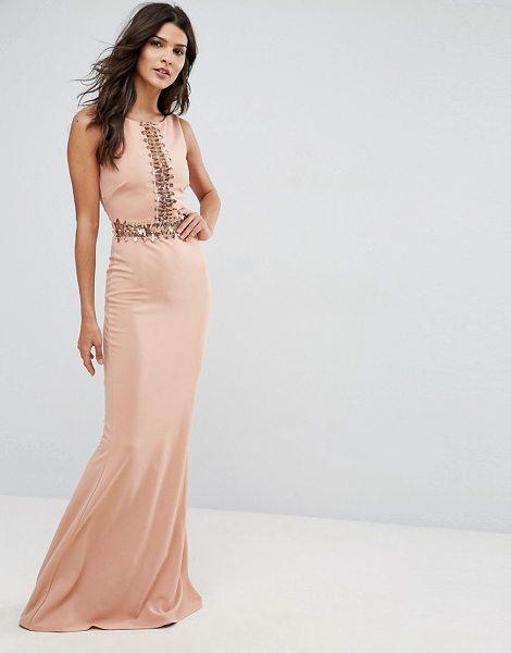 "City Goddess Maxi Dress With Sequin Panel in beige - """"Maxi dress by City Goddess, Stretch fabric, Round..."