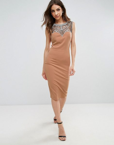 "City Goddess Midi Dress With Embellishment in tan - """"Midi dress by City Goddess, Stretch knitted fabric,..."