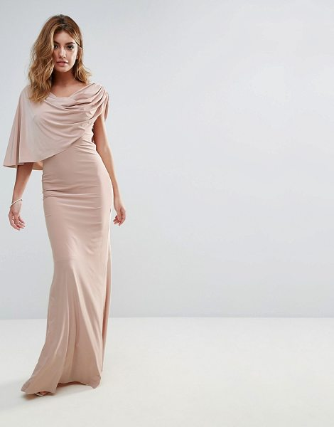"City Goddess One Shoulder Drape Maxi Dress in beige - """"Maxi dress by City Goddess, Smooth stretch fabric,..."