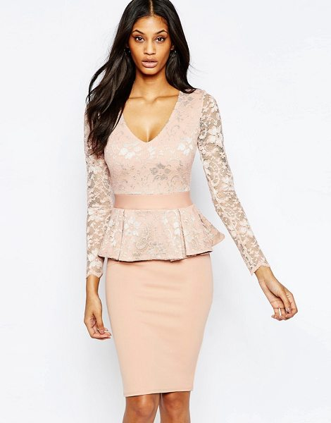CITY GODDESS Peplum midi dress with lace top - Midi dress by City Goddess, Mid-weight scuba, Lace...