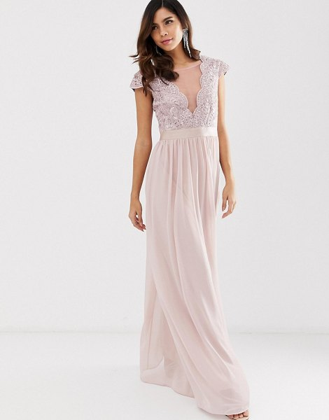 City Goddess pleated maxi dress with lace and mesh detail in blush