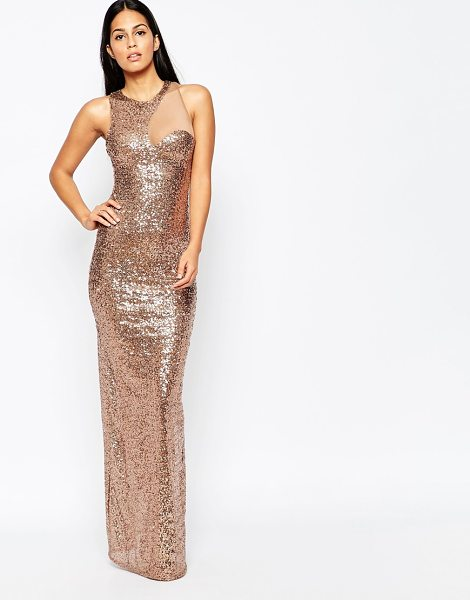 City Goddess Sequin cocktail maxi dress with mesh insert in champagne - Evening dress by City Goddess Sheer mesh stretch fabric...