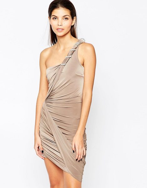 City Goddess Slinky one shoulder mini dress with embellished rope deta in beige - Evening dress by City Goddess, Slinky stretch fabric,...