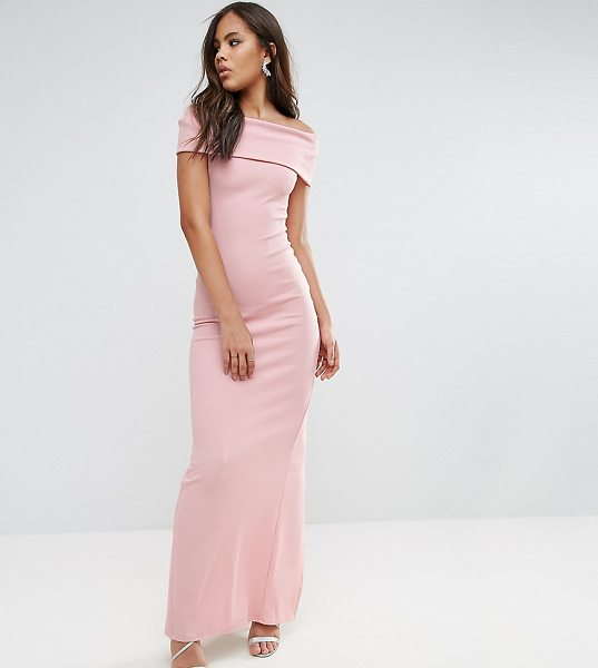 "City Goddess Tall Bardot Maxi Dress in pink - """"Maxi dress by City Goddess Tall, Smooth stretch..."