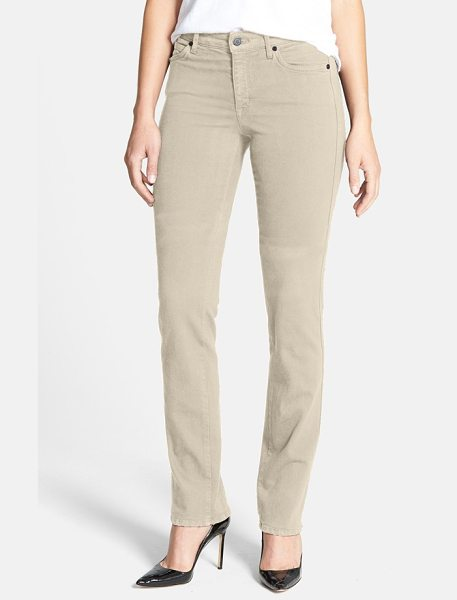 CJ by Cookie Johnson faith stretch straight leg jeans in natural - Classic five-pocket jeans are cut from comfortable...