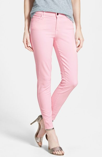 CJ by Cookie Johnson wisdom colored stretch ankle skinny jeans in baby pink - Fresh, springy hues get comfortable ankle-length skinny...