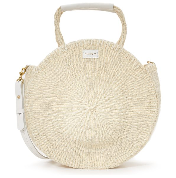 Clare V. alice tote in cream - Fabric: Woven sisal Double handles Optional adjustable...