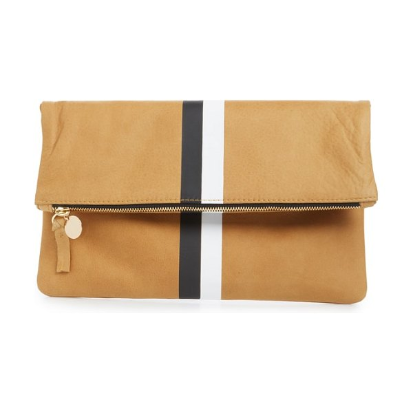 Clare V. center stripe leather foldover clutch in brown - Vertical racing stripes stand out against the lush,...