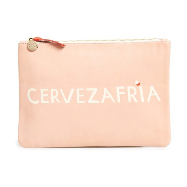Clare V. Cervezafria lambskin leather zip clutch in blush - This flat clutch inspired by hand-painted signage in LA...