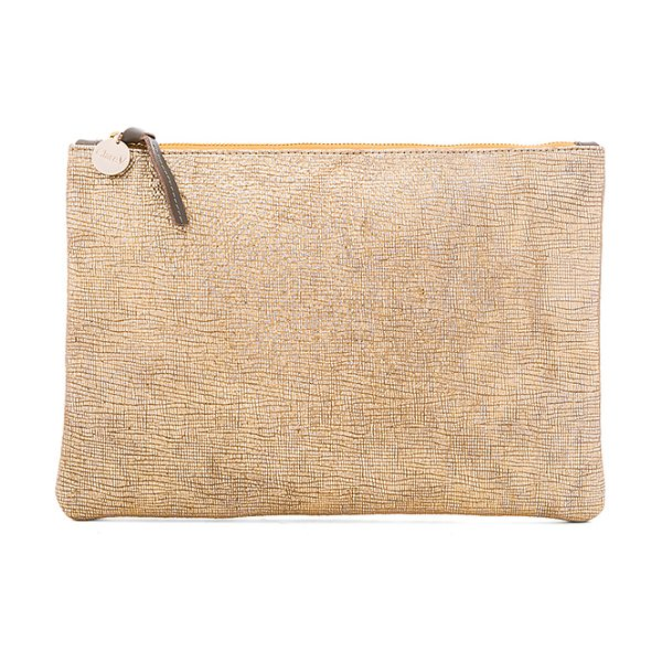 Clare V. Flat Supreme Clutch in metallic gold - Metallic leather exterior with denim fabric lining. Zip...