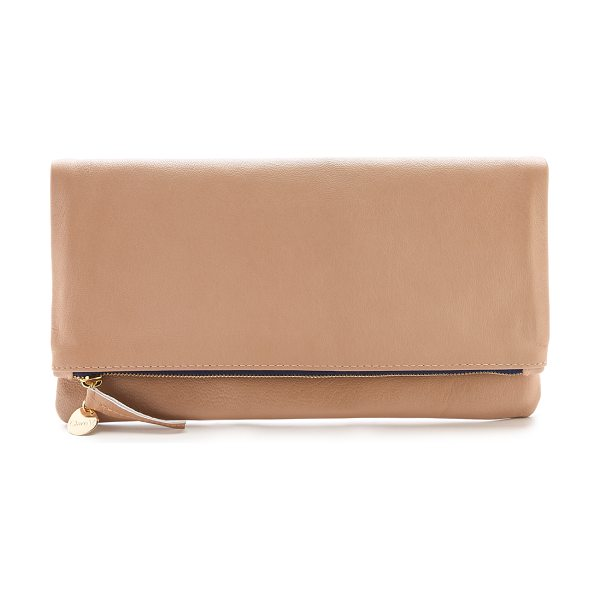 CLARE V. Fold over clutch in blush - The classic Clare V. fold over clutch, rendered in...