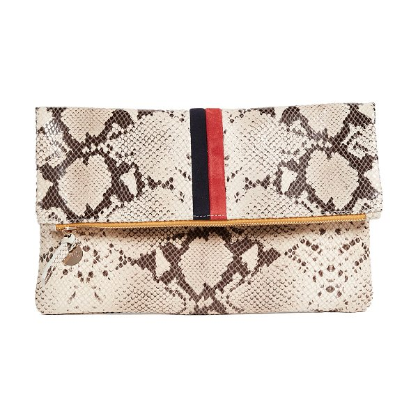 Clare V. fold over snake print clutch in tan snake/navy/red - A glossy snake-print Clare V. fold-over clutch with bold...